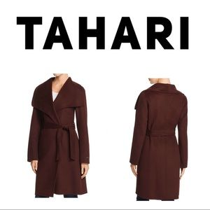 T Tahari Burgundy Ellie Wool Blnd Double Face Coat